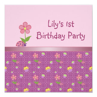 Pink Ladybug and Cupcake Birthday Party 13 Cm X 13 Cm Square Invitation Card