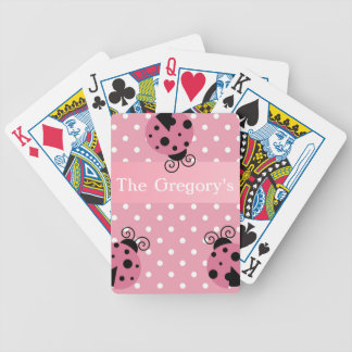 Pink Ladybug and Polka Dots Bicycle Playing Cards