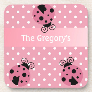 Pink Ladybug and Polka Dots Drink Coasters