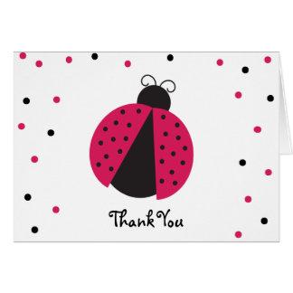 Pink Ladybug Baby Girl's Birthday Thank You Note Card