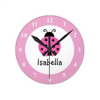Pink ladybug baby name nursery room wall clock