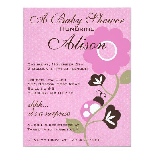 Pink Ladybug Baby Shower Invite