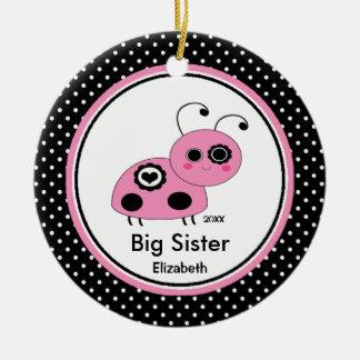 Pink Ladybug Big Sister Christmas Ornament