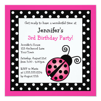 Pink Ladybug Birthday - Black and White Polka Dots 13 Cm X 13 Cm Square Invitation Card