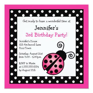 Pink Ladybug Birthday - Black and White Polka Dots 13 Cm X 13 Cm Square Invitation Card