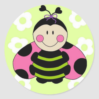Pink Ladybug Classic Round Sticker