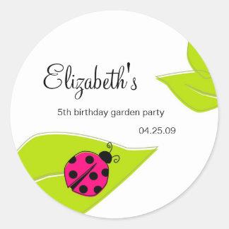 Pink Ladybug Favour Stickers