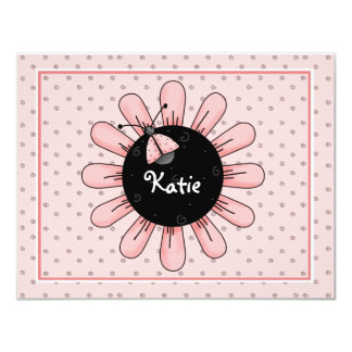 Pink Ladybug Flat Thank You Card 11 Cm X 14 Cm Invitation Card