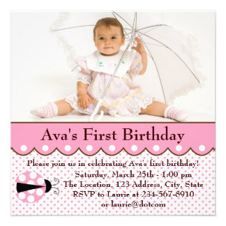 Pink Ladybug Girls Photo 1st Birthday Party Personalized Announcement