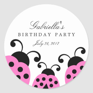 Pink Ladybug Party Favor Stickers
