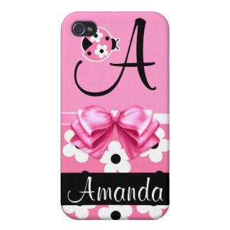 Pink Ladybug: Personalize iPhone 4 Cover