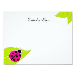 "Pink Ladybug Personalized Stationery 4.25"" X 5.5"" Invitation Card"