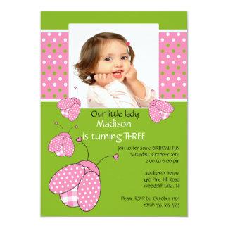 "Pink ladybug Photo Birthday Invitation 5"" X 7"" Invitation Card"
