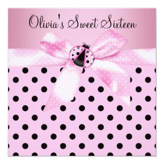 Pink Ladybug Sweet Sixteen Birthday Party Card