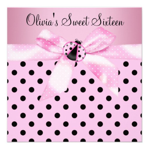 Pink Ladybug Sweet Sixteen Birthday Party Personalized Announcements