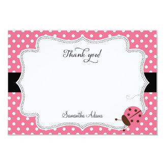 Pink Ladybug Thank You Card Polkadot 9 Cm X 13 Cm Invitation Card