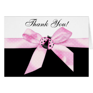 Pink Ladybug Thank You Cards