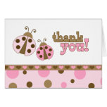 Pink Ladybugs Thank You Note Card