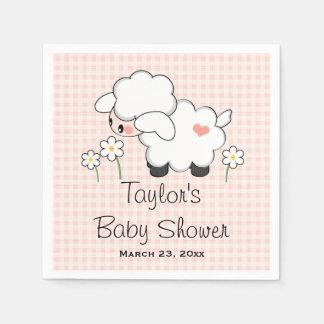Pink Lamb Girl Baby Shower Disposable Serviette