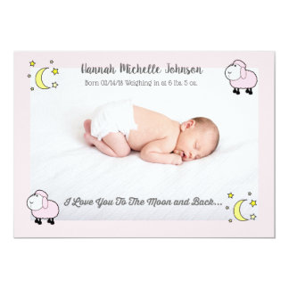 Pink Lamb Love You To the Moon Birth Announcement