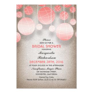 pink lanterns elegant burlap bridal shower 13 cm x 18 cm invitation card