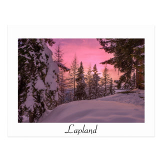 Pink Lapland sunset white text postcard