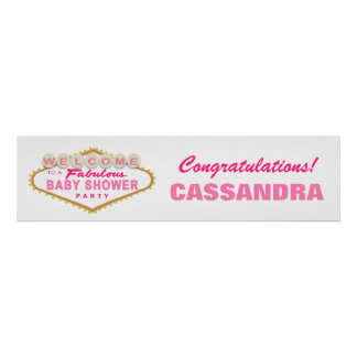 Pink Las Vegas Baby Shower Party Banner Poster