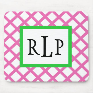 Pink Lattice Mousepad Monogrammed