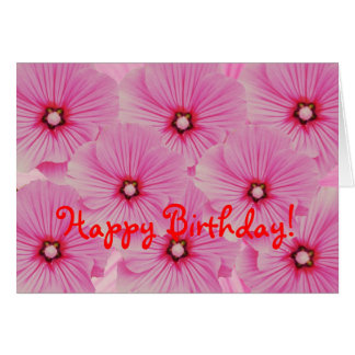 Pink Lavatera Birthday Card