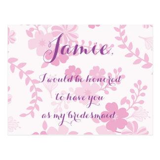 Pink lavender floral bridesmaid invitation postcard