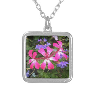 Pink & Lavender Flowers Silver Plated Necklace