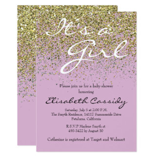 pink Lavender  & Gold Glitter  Baby Shower Invite