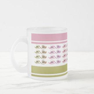 Pink,Leaf Green Striped Frosted Glass Mug