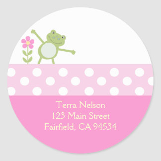 Pink Leap Frog Return Address Stickers