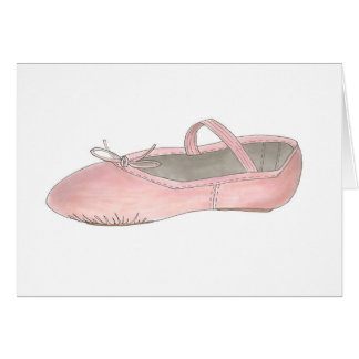 Pink Leather Ballet Shoe Slipper Ballerina Card