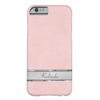 Pink Leather Look Metal Name Plate Barely There iPhone 6 Case