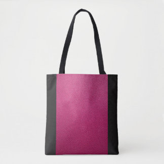 Pink Leather Look with Black Accents Tote Bag