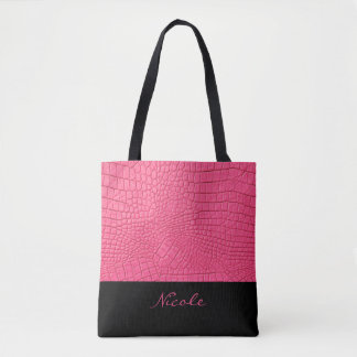 Pink Leather Textured Personalised Tote Bag