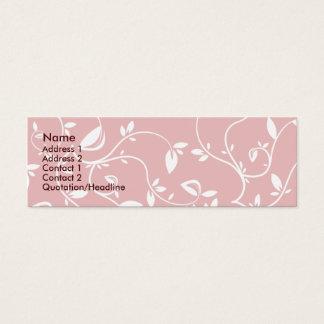 Pink Leaves - Skinny Mini Business Card