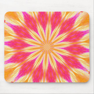 Pink Lemon Lily Sunburst Medallion Mouse Pad