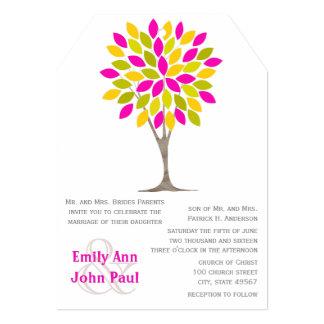 "Pink Lemon Yellow Green Modern Tree Flower Weddin 5"" X 7"" Invitation Card"