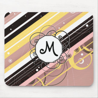 Pink Lemonade Modern-Retro Stripes with Monogram Mouse Pad