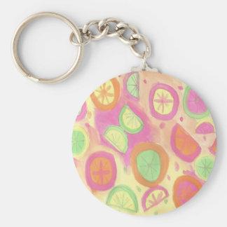Pink Lemonade Pattern Key Ring