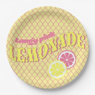 Pink Lemonade Quatrefoil Paper Plate