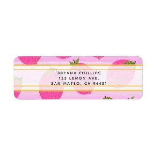 Pink Lemons Lemonade Summer Fruit Watercolor Favor Return Address Label