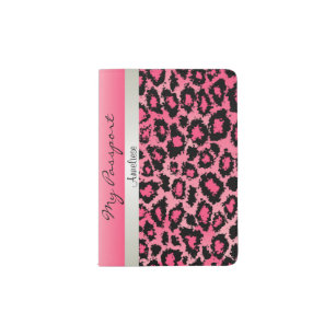 Pink Leopard and Glittery Print Passport Holder
