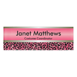 Pink Leopard and Gold Metallic Name Tag