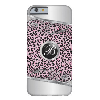 Pink Leopard and Metal Print | Monogram Barely There iPhone 6 Case