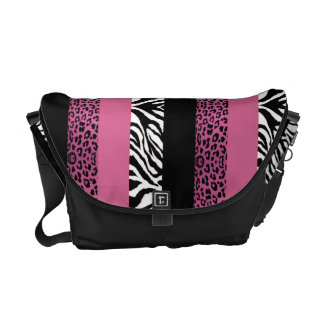 Pink Leopard and Zebra Custom Animal Print Courier Bags