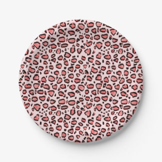 Pink Leopard Animal Print Pattern 7 Inch Paper Plate